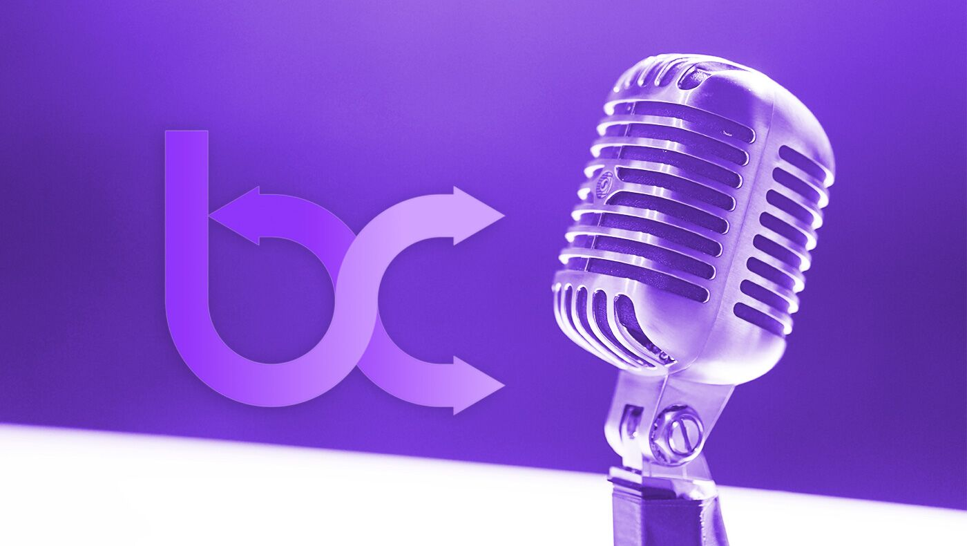 Blend Commerce logo with a microphone