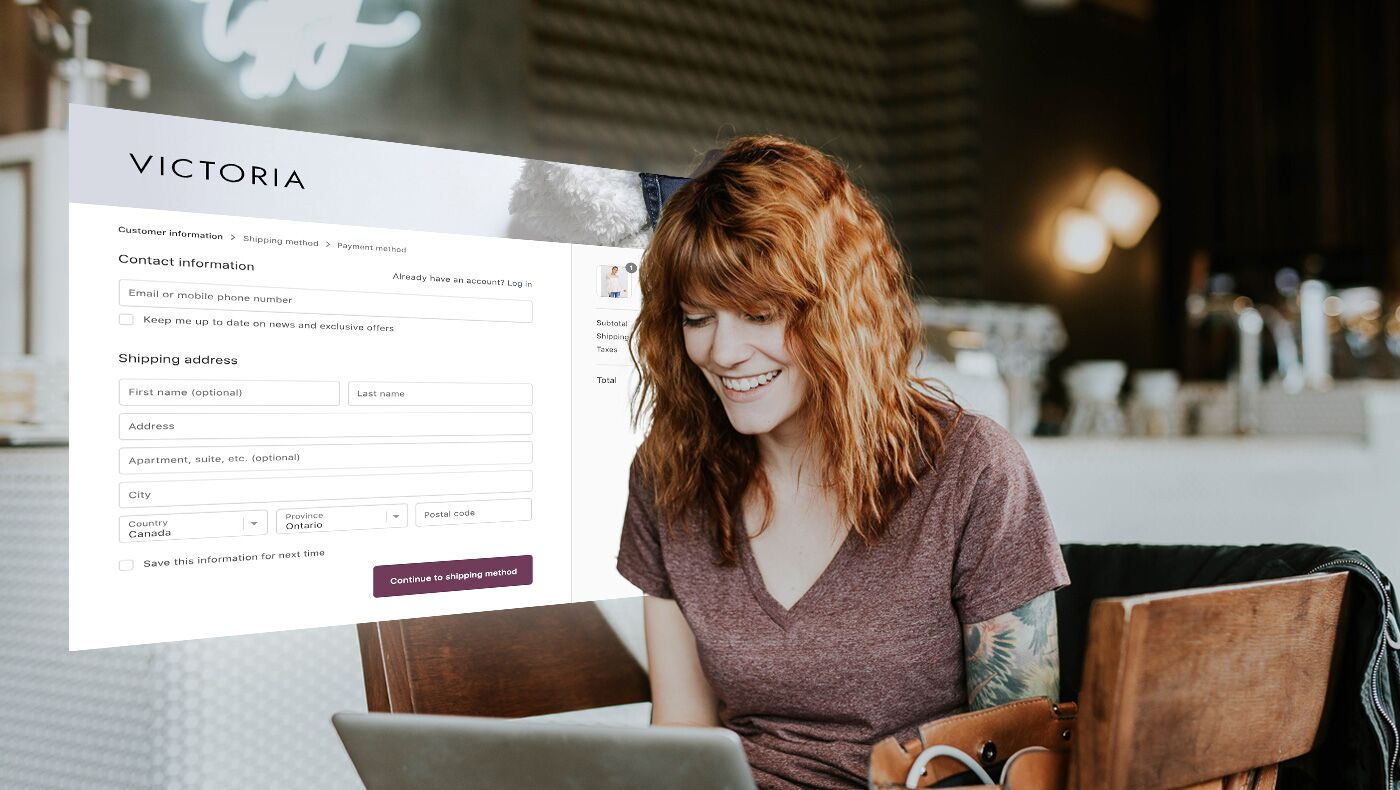 woman viewing a checkout page on an online Shopfiy store.