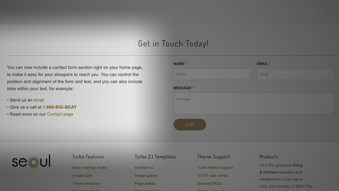 Shopify theme contact section