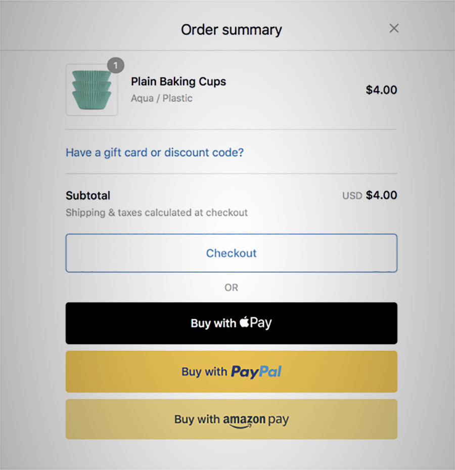 Shopify dynamic payment buttons checkout