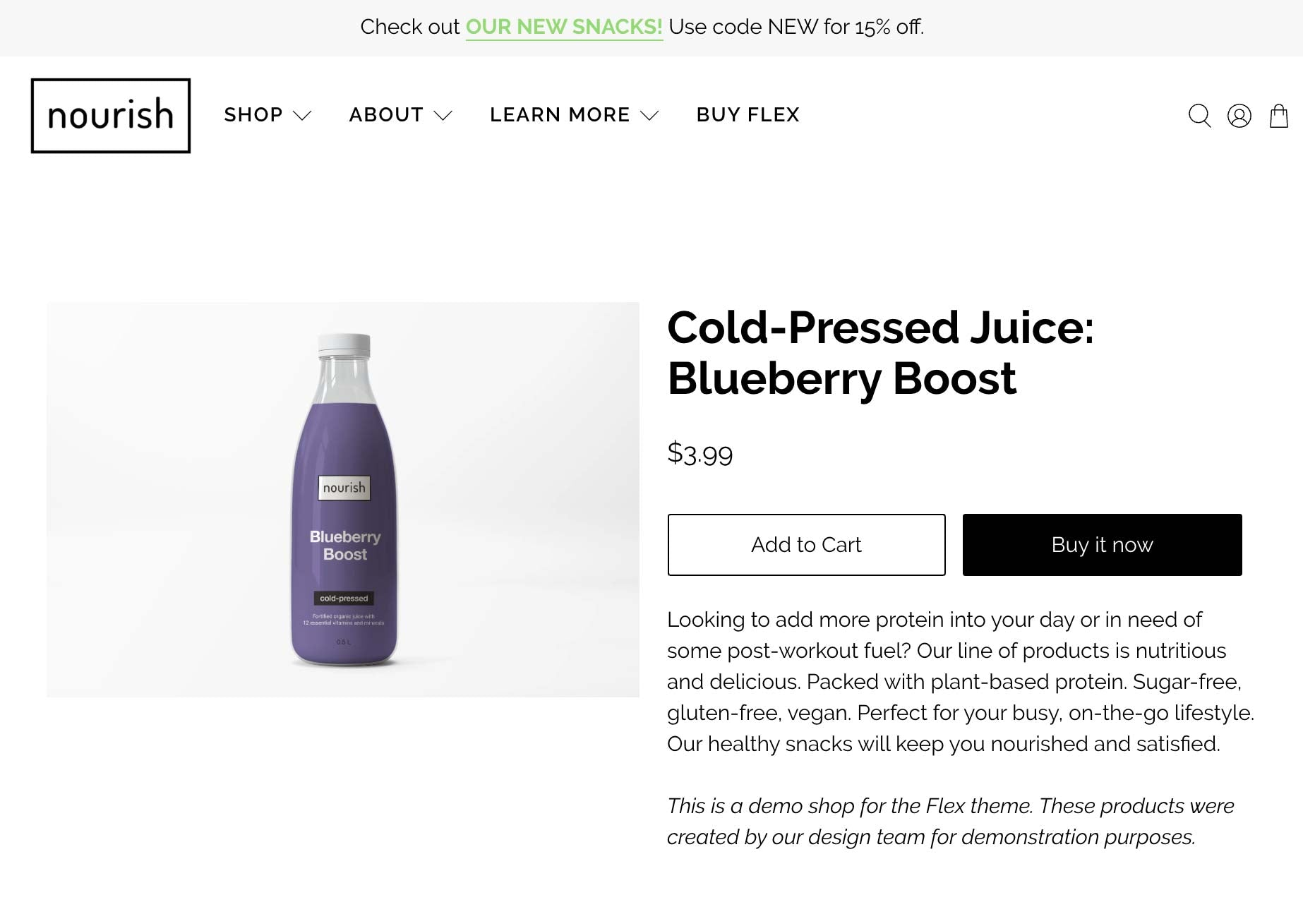 Example of a Product Description on a Shopify product page