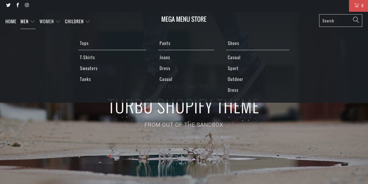 Go big or go home: Using mega menus in Shopify themes - Out of the