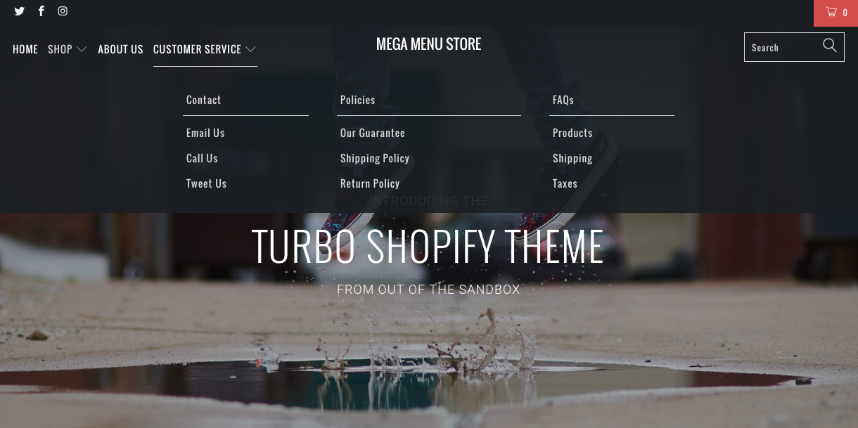 Shopify theme with built in mega menu