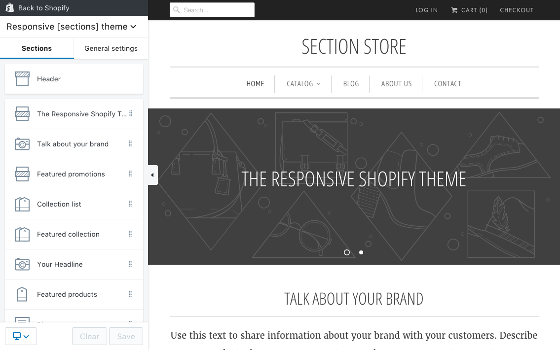 Shopify theme sections editor