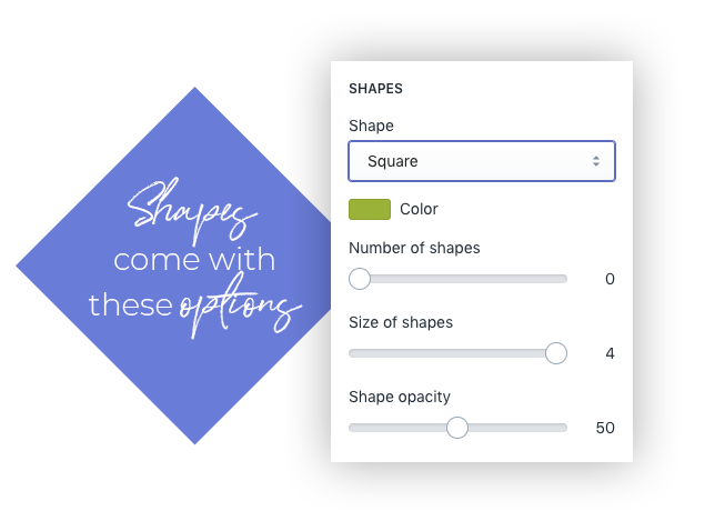 Shopify shapes options