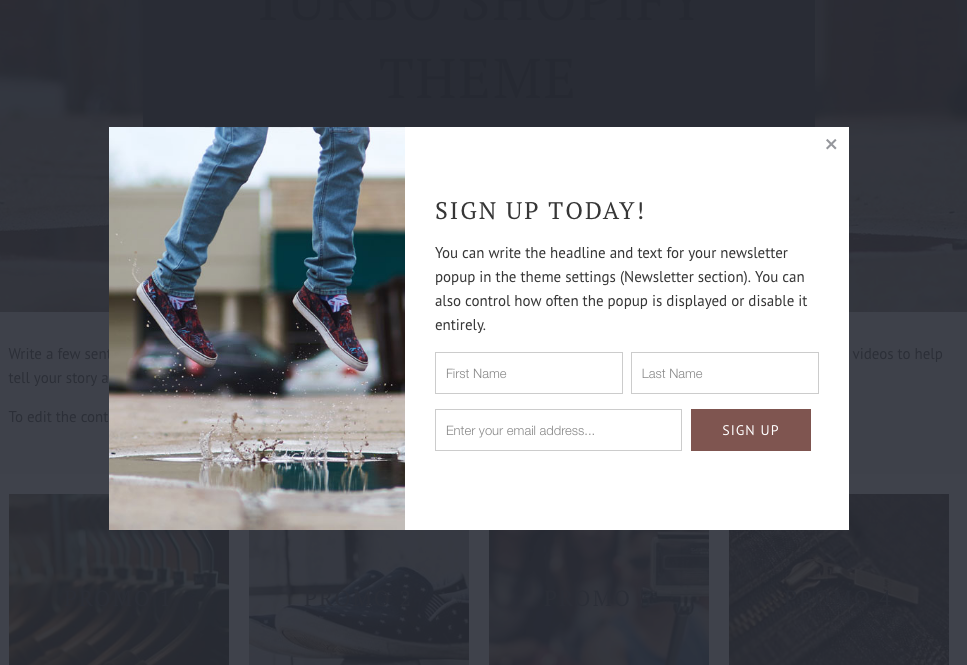 Shopify theme newsletter signup popup