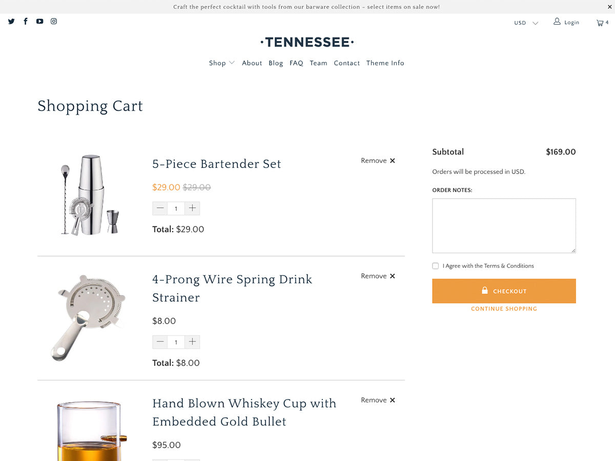 Tennessee cart page