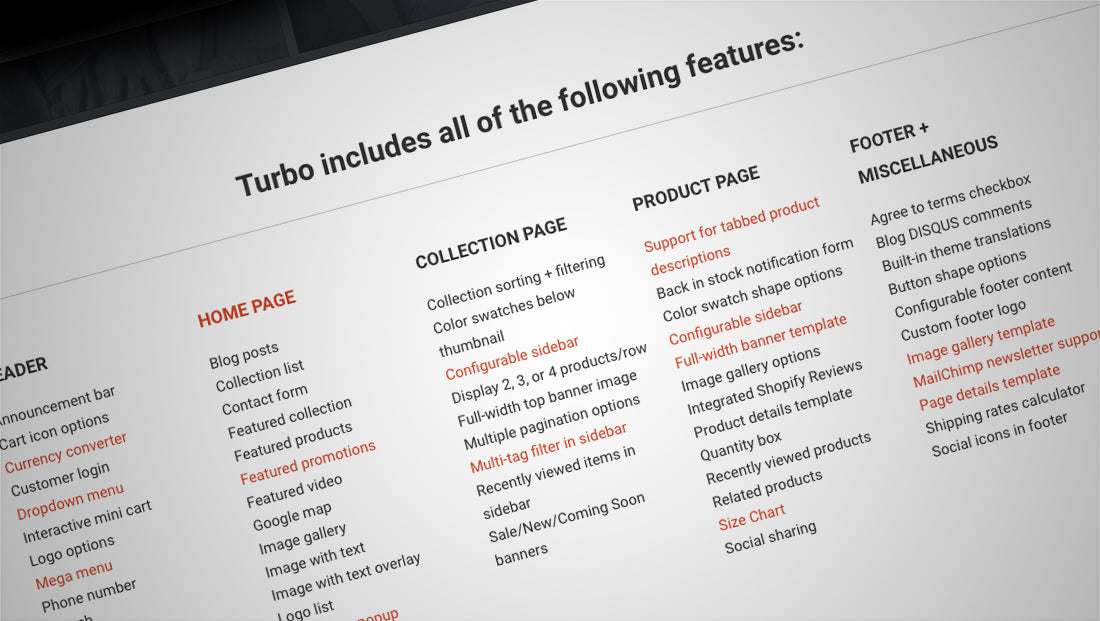 Turbo Shopify theme features
