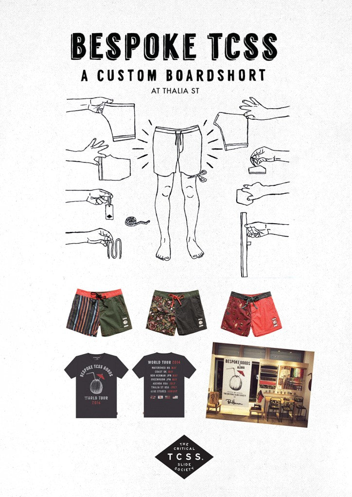 Design your own custom boardshorts this weekend at the shop with TCSS!