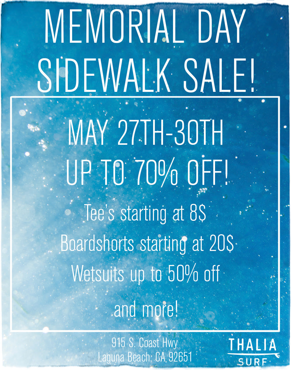 Memorial Day Sidewalk Sale