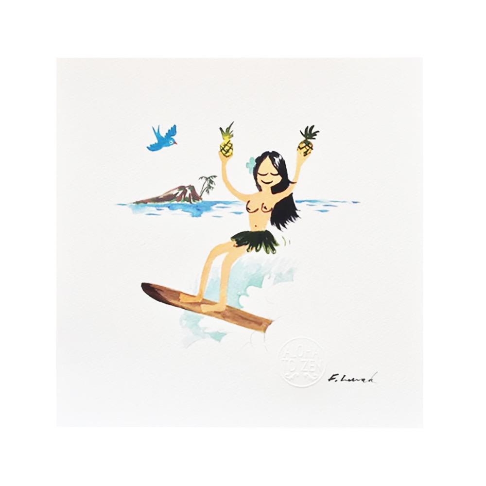 Aloha to Zen Pineapple Girl Print