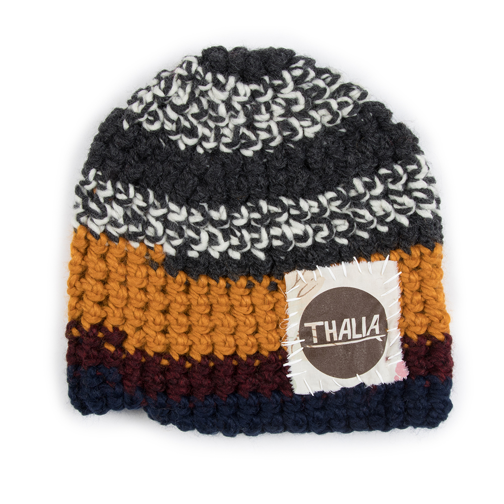 Thalia Surf Dot Patch Crochet Beanie