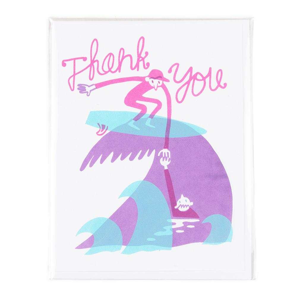 Forest and Waves Thank You Surfer Greeting Card
