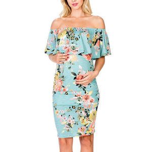 26f927308d61c Maternity Off The Shoulder Ruffle Floral Bodycon Dress 2 Colors