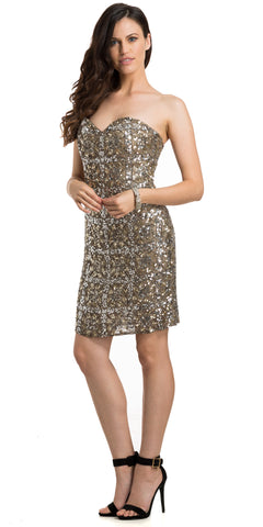 STRAPLESS FULLY BEADED SHORT PROM HOMECOMING DRESS