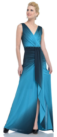 V-NECK WRAP STYLE OMBRE FORMAL DRESS WITH FRONT SASH