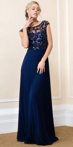 BOAT NECK SEQUINS MESH TOP PLEATED LONG FORMAL EVENING DRESS