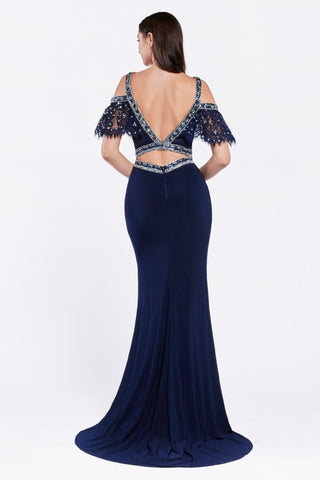 Amazing Off The Shoulder Beaded Jersey Gown in NAVY!