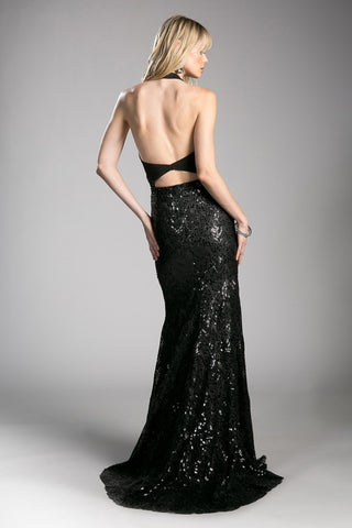 PUNKY! Fitted sequin gown with halter neckline and lace up cut out.