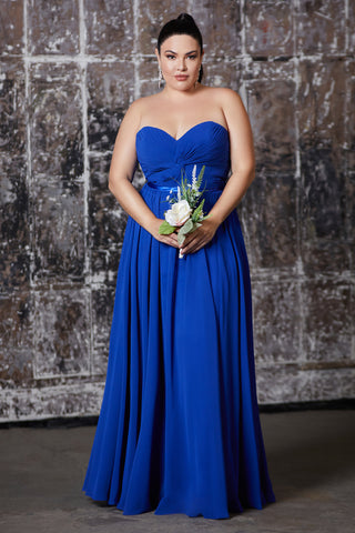 Strapless chiffon a-line dress with gathered bodice and sweetheart neckline.