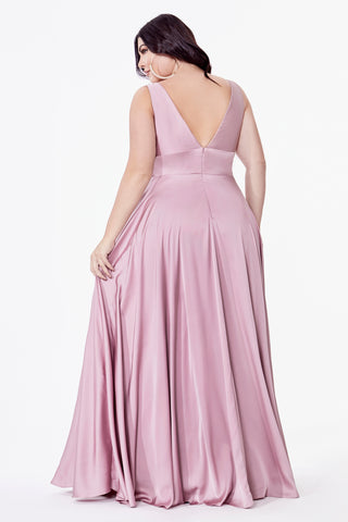 Satin flowy A-line dress with leg slit, open back and v-neckline.