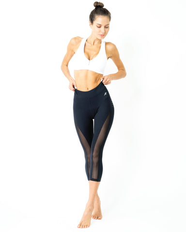 Love Your Body Low-Waisted Capri Leggings With Mesh Panels and Reflective Strips