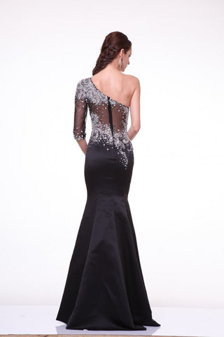 Black One Shoulder Illusion Sleeve Beaded Satin Gown