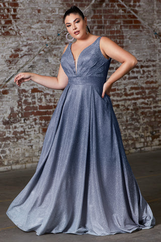 Curve Collection A-line ombre gown with pleated deep v-neckline and open back.