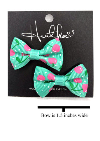 Mint & Pink Cherry Bow Tie Earrings