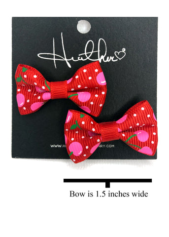 Red & Pink Cherry Bow Tie Earrings