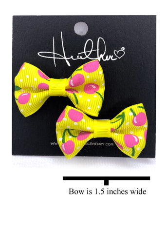 Yellow & Pink Cherry Bow Tie Earrings