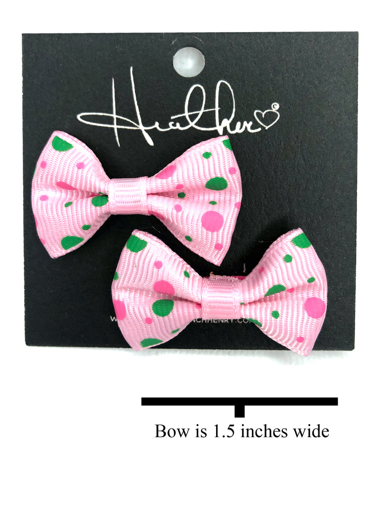 Pink & Green Polka Dot Bow Tie Earrings