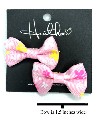Pink & Yellow Butterfly Bow Tie Earrings