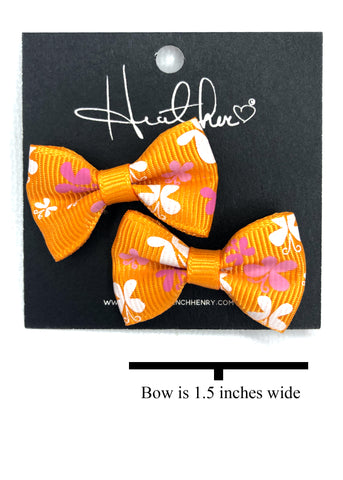 Orange Butterfly Bow Tie Earrings