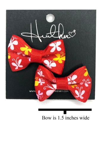 Red & Yellow Butterfly Bow Tie Earrings