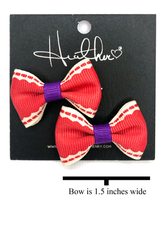 Red & Purple Bow Tie Earrings