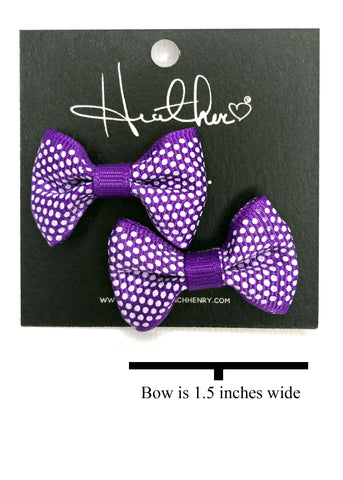 Purple Polka Dot Bow Tie Earrings