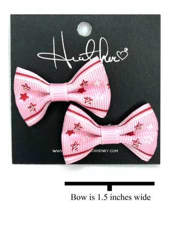 Pink & Red Stars Bow Tie Earrings
