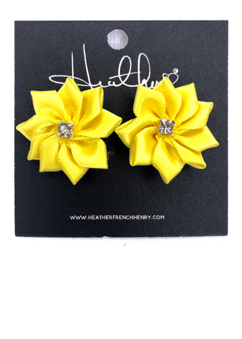 Yellow Satin Floral Rhinestone Earrings