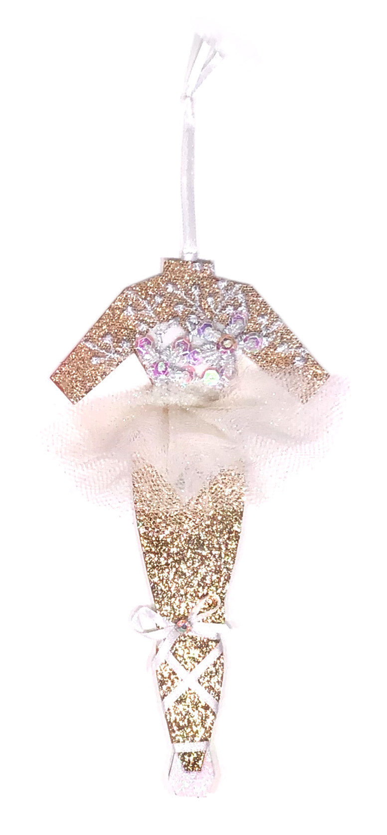 White Swan Ballerina Christmas Ornament by Heather French Henry