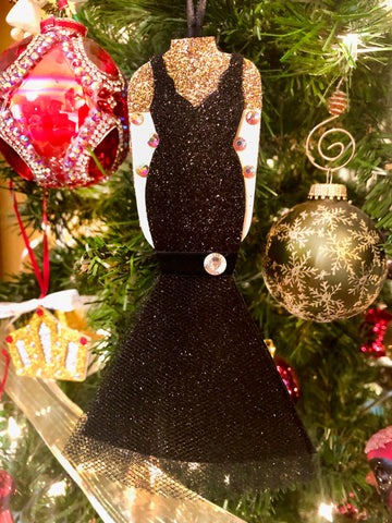 Christmas Ornament Inspired by Edith Head's Black Velvet Gown worn by Rosemary Clooney
