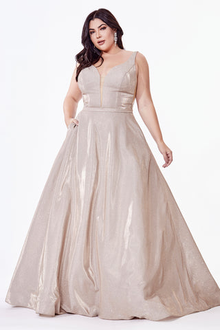 Curve Collection Glitter ball gown with deep plunge neckline and illusion sides.