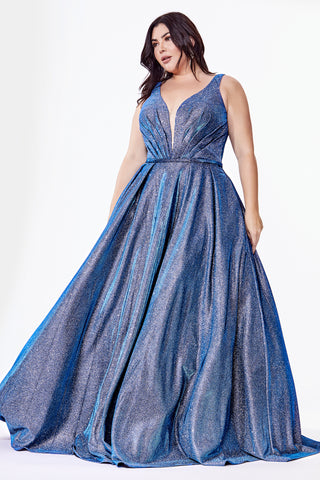 Curve Collection Glitter ball gown with deep plunge neckline and pockets.