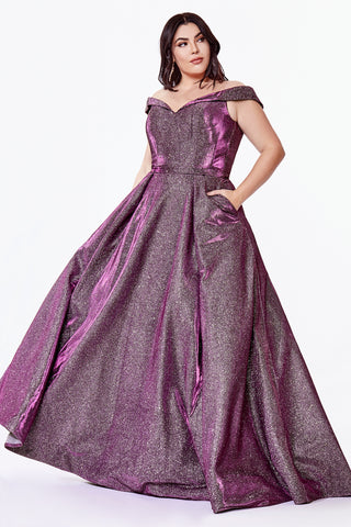 Off the shoulder Curve Collection ball gown with glitter metallic finish and pockets