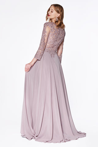 Flowy A-line chiffon three-quarter sleeve gown with closed back and lace detailed bodice.