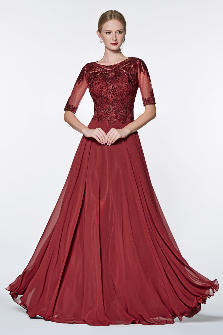 Beautiful Three quarter sleeve a-line gown with beaded lace top and chiffon skirt.