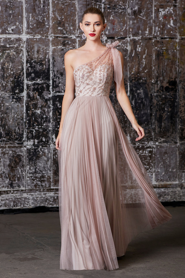 Mauve One Shoulder Beaded Bodice Gown with Pleated A-Line Skirt