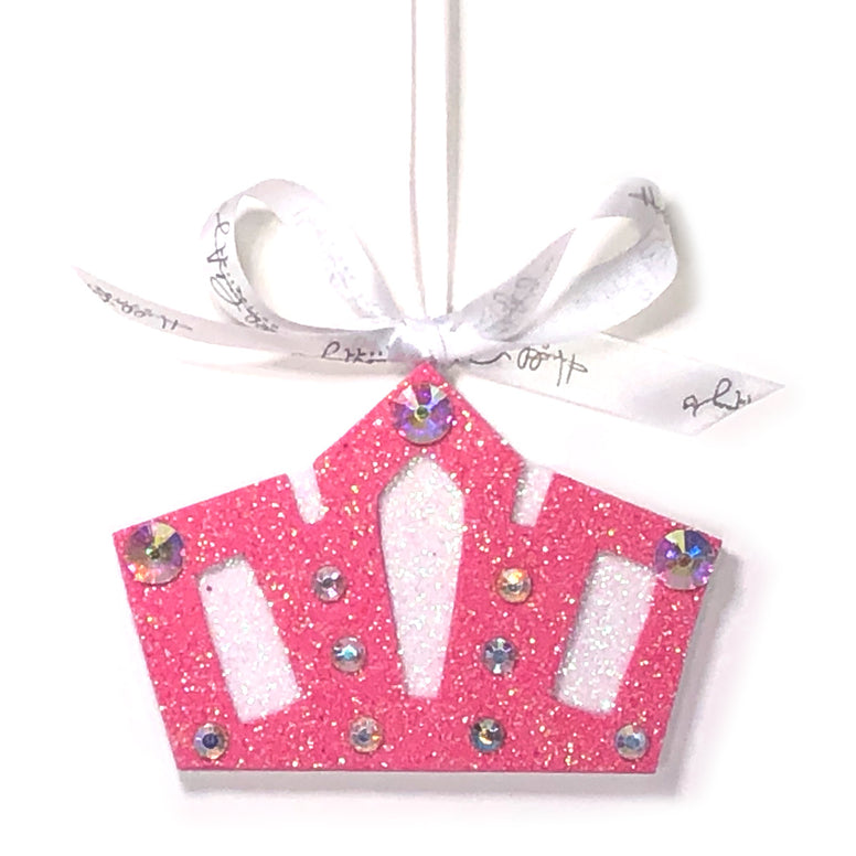 Pink Crystal Crown Christmas Ornament
