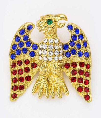 American Eagle Crystal Brooch