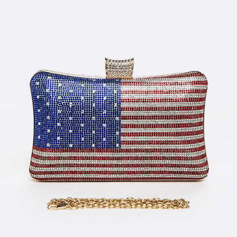 USA Flag Rhinestone Pave Box Clutch